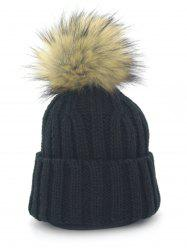 Outdoor Removable Fuzzy Ball Embellished Flanging Knit Beanie -