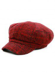 Vintage Houndstooth Pattern Embellished Newsboy Hat -