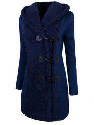 Horn Button Hooded Fuzzy Coat -