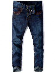 Panel Design Zip Fly Straight Jeans -