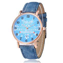 Merry Christmas Face Faux Leather Watch -