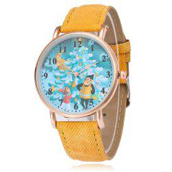 Christmas Tree Face Faux Leather Strap Watch -
