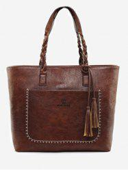 Braid Whipstitch Tassels Tote Bag -