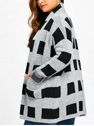 Plus Size Pockets Open Front Plaid Cardigan -