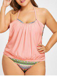 Plus Size Backless Halter Ethnic Print Tankini Set -