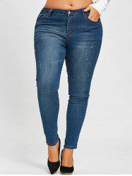 Plus Size Embellished Rhinestone Ripped Jeans -