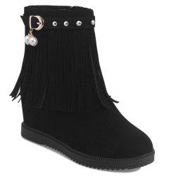 Height Increase Faux Pearl Fringe Rivets Boots -