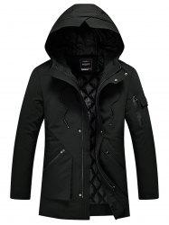 Zip Pocket Quilted Winter Hooded Coat -