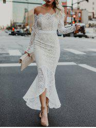 Off The Shoulder High Low Lace Dress -
