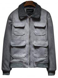Faux Fur Collar Zip Up Padded Suede Jacket -