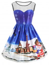 Christmas Countryside Snow Day Plus Size Vintage Dress -