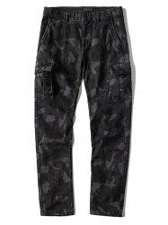Multi-pocket Slim Fit Camo Cargo Pants -