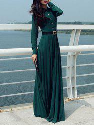 Long Sleeve Button Design Maxi Dress with Belt -