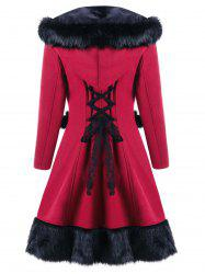 Hooded Faux Fur Panel Lace Up Longline Coat -