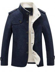 Epaulet Faux Shearling Lining Button Up Jacket -