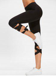 Lace Up High Waist Capri Gym Pants -