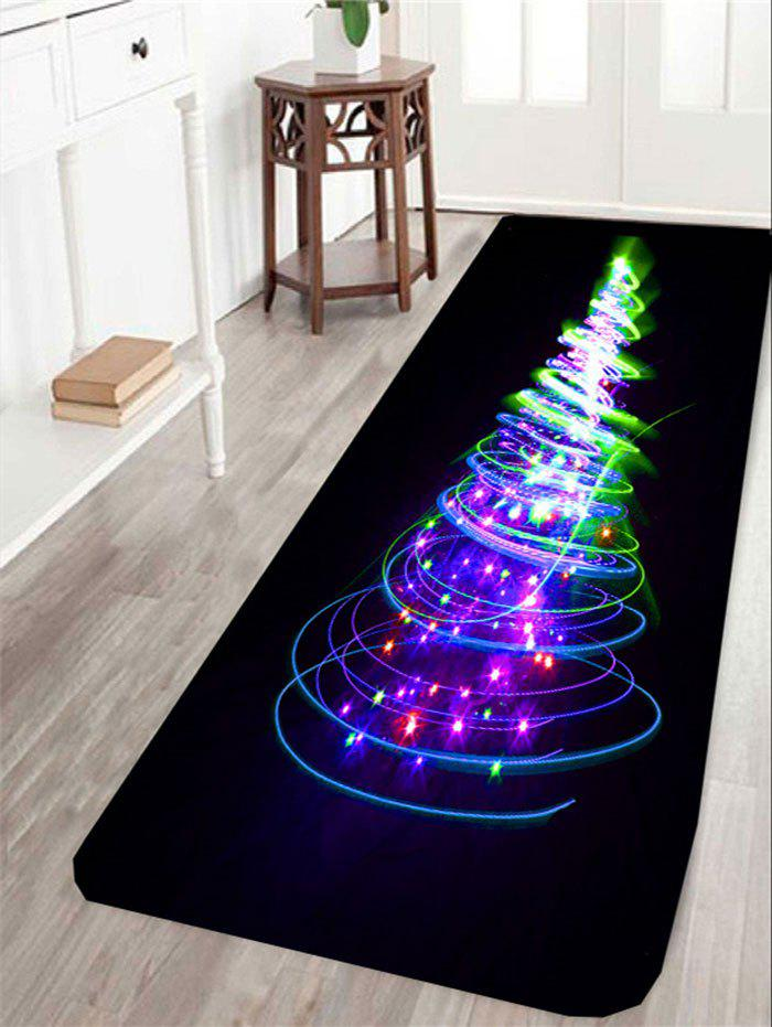 Christmas Lighting Tree Printed Skidproof RugHOME<br><br>Size: W24 INCH * L71 INCH; Color: COLORFUL; Products Type: Bath rugs; Materials: Coral FLeece; Pattern: Christmas Tree; Style: Fashion; Shape: Rectangle; Package Contents: 1 x Rug;