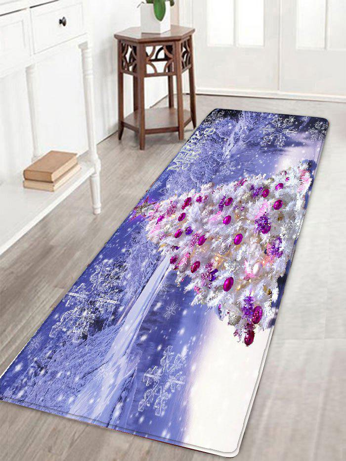 Christmas Tree Snowscape Print Skidproof Flannel Bath RugHOME<br><br>Size: W16 INCH * L47 INCH; Color: LIGHT PURPLE; Products Type: Bath rugs; Materials: Flannel; Pattern: Christmas Tree,Scenic; Style: Festival; Shape: Rectangular; Package Contents: 1 x Rug;