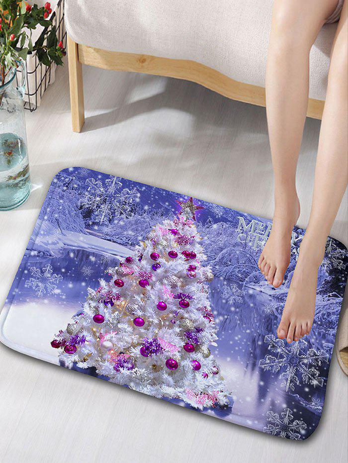 Christmas Tree Snowscape Print Skidproof Flannel Bath RugHOME<br><br>Size: W16 INCH * L24 INCH; Color: LIGHT PURPLE; Products Type: Bath rugs; Materials: Flannel; Pattern: Christmas Tree,Scenic; Style: Festival; Shape: Rectangular; Package Contents: 1 x Rug;