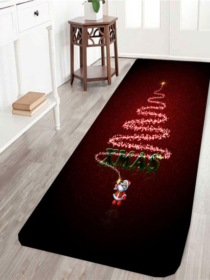 Xmas Tree Pattern Skidproof RugHOME<br><br>Size: W16 INCH * L47 INCH; Color: DEEP RED; Products Type: Bath rugs; Materials: Coral FLeece; Pattern: Christmas Tree; Style: Festival; Shape: Rectangle; Package Contents: 1 x Rug;
