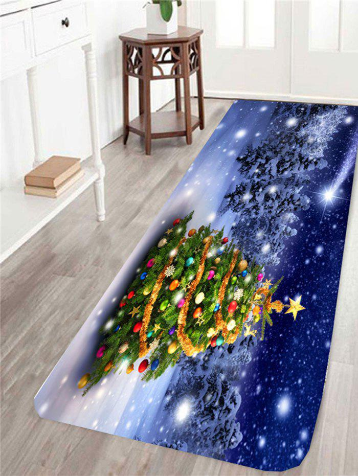 Skidproof Snows Christmas Tree Printed RugHOME<br><br>Size: W16 INCH * L47 INCH; Color: COLORFUL; Products Type: Bath rugs; Materials: Coral FLeece; Pattern: Christmas Tree; Style: Festival; Shape: Rectangle; Package Contents: 1 x Rug;
