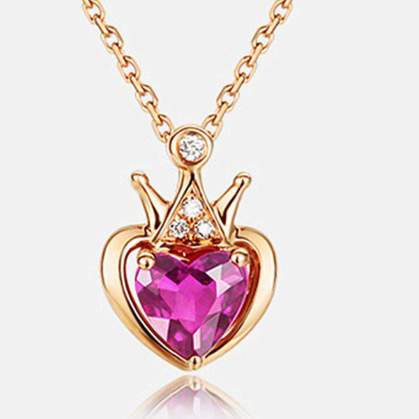 Rhinestoned Crown Heart Collarbone Pendant NecklaceJEWELRY<br><br>Color: PURPLE; Item Type: Pendant Necklace; Gender: For Women; Necklace Type: Link Chain; Material: Rhinestone; Style: Trendy; Shape/Pattern: Heart; Weight: 0.0110kg; Package Contents: 1 x Necklace;
