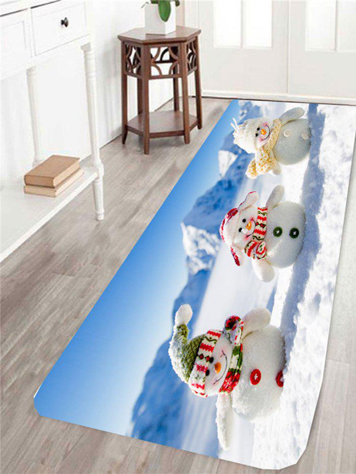 Three Christmas Snowmen Printed Antiskid Area RugHOME<br><br>Size: W16 INCH * L47 INCH; Color: BLUE AND WHITE; Products Type: Bath rugs; Materials: Coral FLeece; Pattern: Snow,Snowman; Style: Festival; Package Contents: 1 x Area Rug;