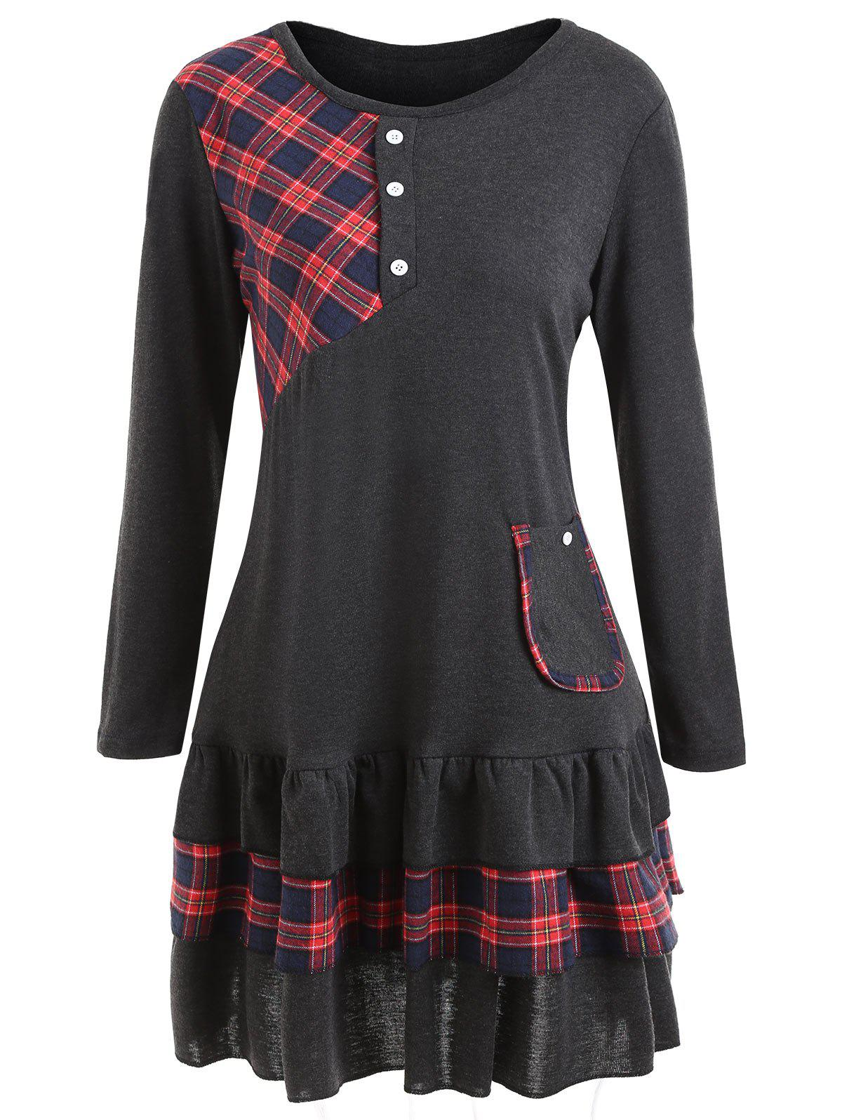 Flounce Plus Size Tartan Panel Tunic TopWOMEN<br><br>Size: 2XL; Color: DARK GRAY; Material: Cotton Blends,Polyester; Shirt Length: Long; Sleeve Length: Full; Collar: Round Neck; Style: Casual; Season: Fall,Winter; Embellishment: Button,Front Pocket,Ruffles; Pattern Type: Plaid; Weight: 0.5300kg; Package Contents: 1 x Top;