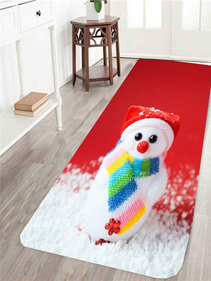 Christmas Snowman Patterned Antiskid Area RugHOME<br><br>Size: W16 INCH * L47 INCH; Color: RED AND WHITE; Products Type: Bath rugs; Materials: Coral FLeece; Pattern: Snow,Snowman; Style: Festival; Package Contents: 1 x Area Rug;