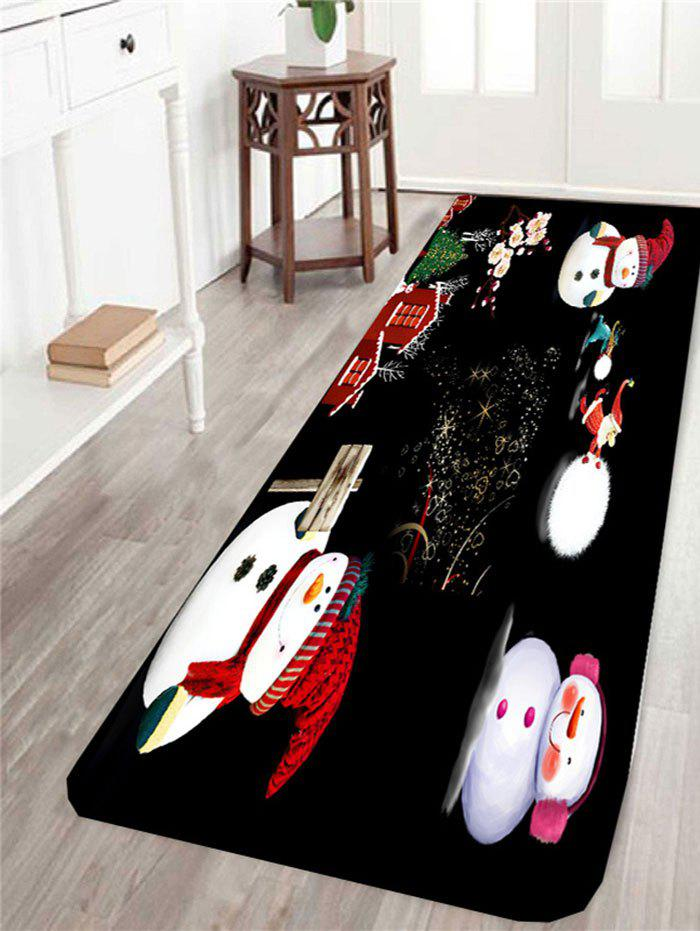 Skidproof Happy Christmas Snowman Family Pattern RugHOME<br><br>Size: W24 INCH * L71 INCH; Color: BLACK AND WHITE AND RED; Products Type: Bath rugs; Materials: Coral FLeece; Pattern: Snowman; Style: Festival; Package Contents: 1 x Area Rug;