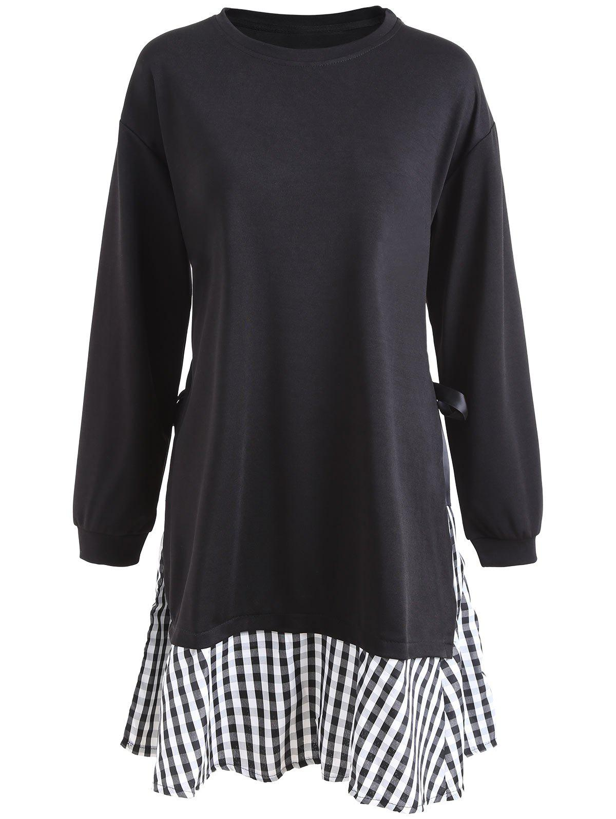 Plaid Panel Plus Size Tunic Dress with SleevesWOMEN<br><br>Size: 4XL; Color: BLACK; Style: Casual; Material: Cotton Blend,Polyester; Silhouette: A-Line; Dresses Length: Mini; Neckline: Round Collar; Sleeve Length: Long Sleeves; Embellishment: Spliced; Pattern Type: Plaid; With Belt: No; Season: Fall,Winter; Weight: 0.5000kg; Package Contents: 1 x Dress;