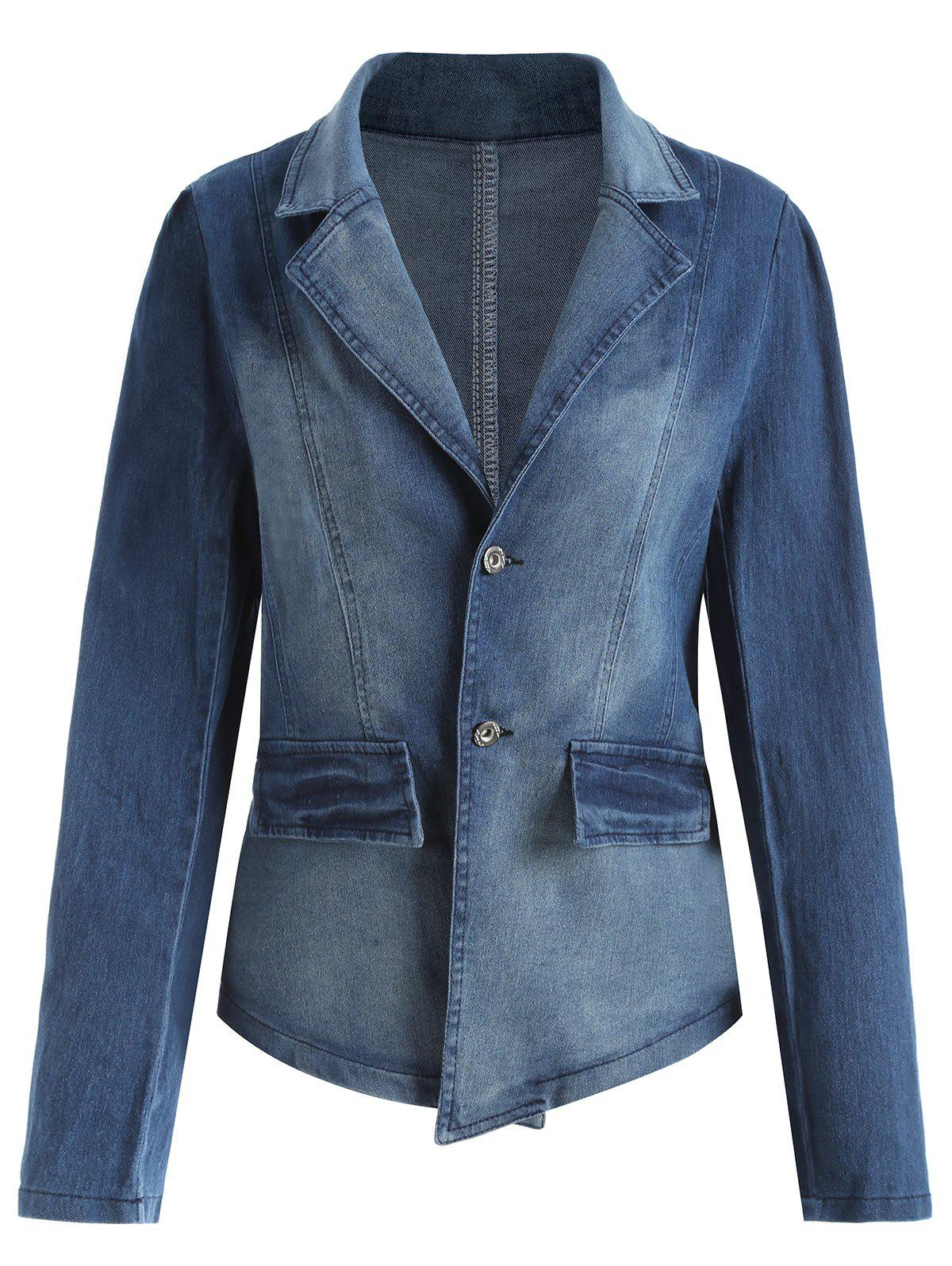 Lapel Plus Size Denim JacketWOMEN<br><br>Size: 4XL; Color: DENIM BLUE; Clothes Type: Jackets; Material: Polyester; Type: Slim; Shirt Length: Regular; Sleeve Length: Full; Collar: Lapel; Closure Type: Single Breasted; Pattern Type: Solid; Style: Casual; Season: Fall,Spring,Winter; With Belt: No; Weight: 0.5500kg; Package Contents: 1 x Jacket;