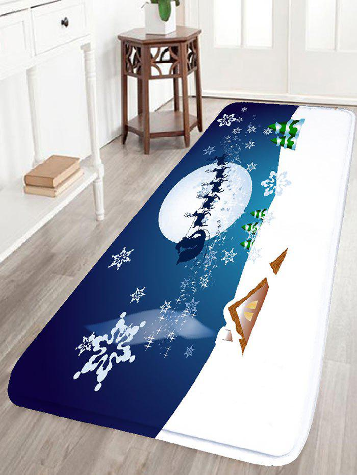Christmas Sled Print Flannel Antislip Area RugHOME<br><br>Size: W24 INCH * L71 INCH; Color: COLORMIX; Products Type: Bath rugs; Materials: Flannel; Pattern: Moon,Snow; Style: Festival; Shape: Rectangular; Package Contents: 1 x Rug;