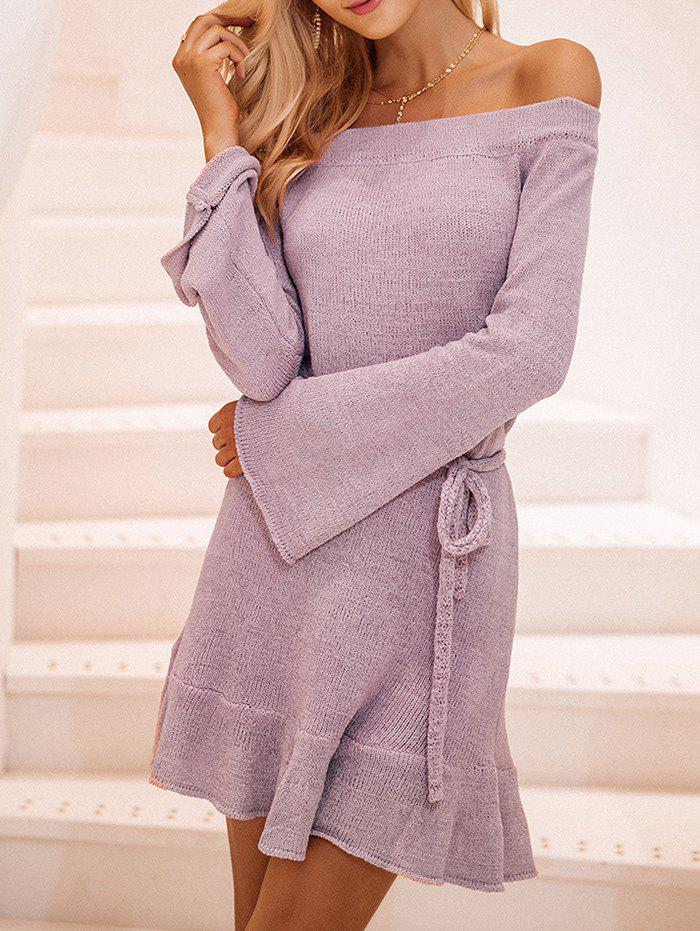 Cheap Off The Shoulder Bell Sleeves Ruffle Hem Dress
