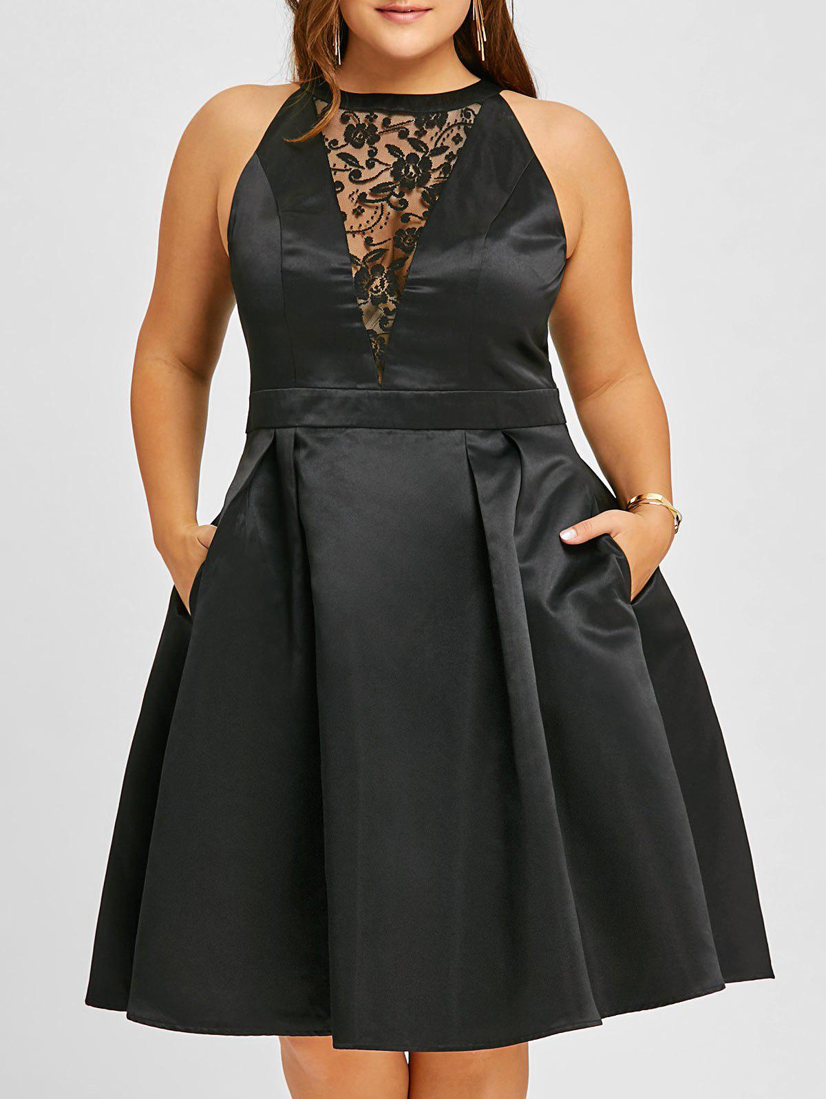 Plus Size Semi Cocktail Lace Insert Swing DressWOMEN<br><br>Size: XL; Color: BLACK; Style: Vintage; Material: Polyester; Silhouette: A-Line; Dresses Length: Knee-Length; Neckline: Round Collar; Sleeve Length: Sleeveless; Embellishment: Lace; Pattern Type: Floral; With Belt: No; Season: Fall,Spring; Weight: 0.4700kg; Package Contents: 1 x Dress;