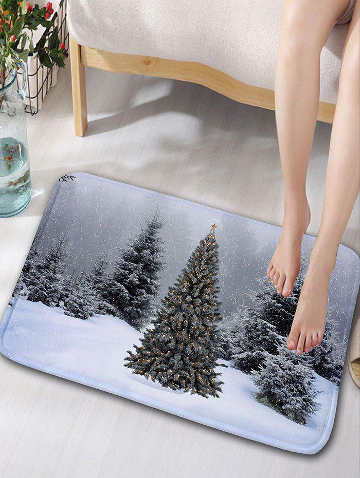 Flannel Skidproof Christmas Snowscape Print Bath MatHOME<br><br>Size: W16 INCH * L24 INCH; Color: GRAY; Products Type: Bath rugs; Materials: Flannel; Pattern: Christmas Tree,Snow; Style: Festival; Shape: Rectangular; Package Contents: 1 x Rug;