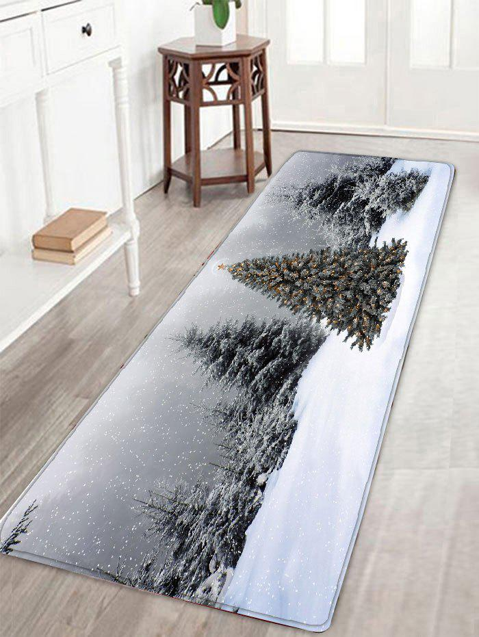 Affordable Flannel Skidproof Christmas Snowscape Print Bath Mat