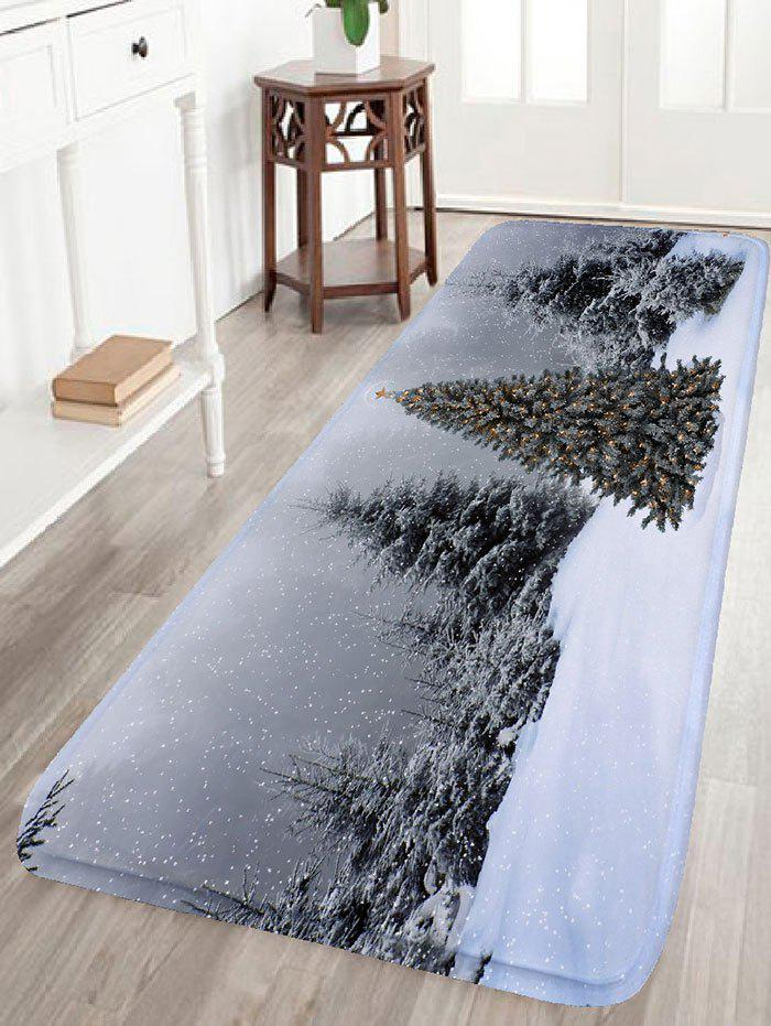 Flannel Skidproof Christmas Snowscape Print Bath MatHOME<br><br>Size: W24 INCH * L71 INCH; Color: GRAY; Products Type: Bath rugs; Materials: Flannel; Pattern: Christmas Tree,Snow; Style: Festival; Shape: Rectangular; Package Contents: 1 x Rug;