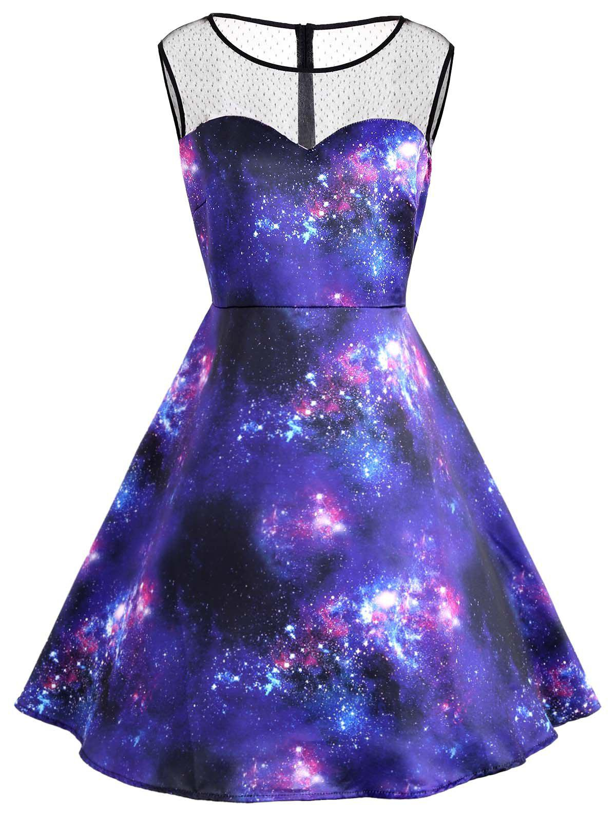 Galaxy Print Plus Size Sleeve Vintage DressWOMEN<br><br>Size: 5XL; Color: BLUE; Style: Vintage; Material: Polyester; Silhouette: A-Line; Dresses Length: Knee-Length; Neckline: Round Collar; Sleeve Length: Sleeveless; Waist: High Waisted; Embellishment: Panel; Pattern Type: Print; With Belt: No; Season: Fall,Spring,Summer,Winter; Weight: 0.3300kg; Package Contents: 1 x Dress;