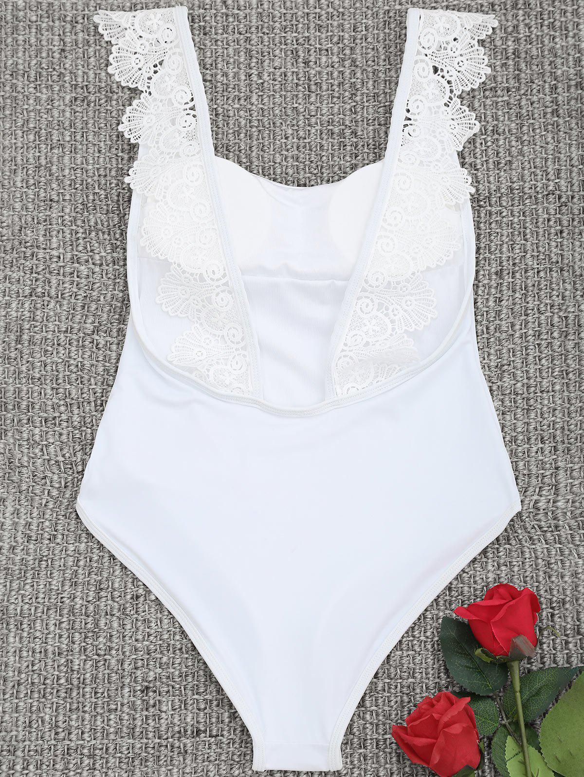 Affordable Low Back One Piece Lace Trim Swimsuit