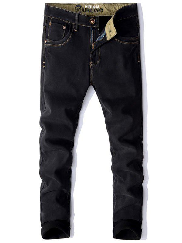 Shop Zip Fly Embroidery Pocket Flocking Jeans