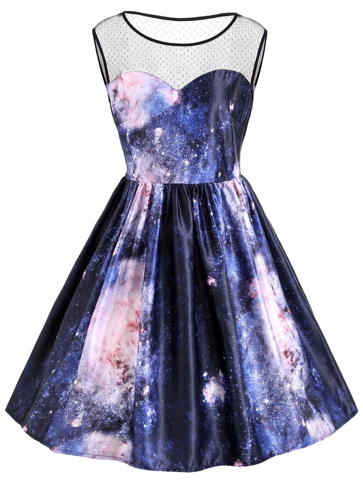 Galaxy Print Plus Size Sleeveless Retro DressWOMEN<br><br>Size: 2XL; Color: MIDNIGHT; Style: Vintage; Material: Polyester; Silhouette: A-Line; Dresses Length: Knee-Length; Neckline: Round Collar; Sleeve Length: Sleeveless; Waist: High Waisted; Embellishment: Panel; Pattern Type: Galaxy,Print; With Belt: No; Season: Fall,Spring,Summer,Winter; Weight: 0.3700kg; Package Contents: 1 x Dress;