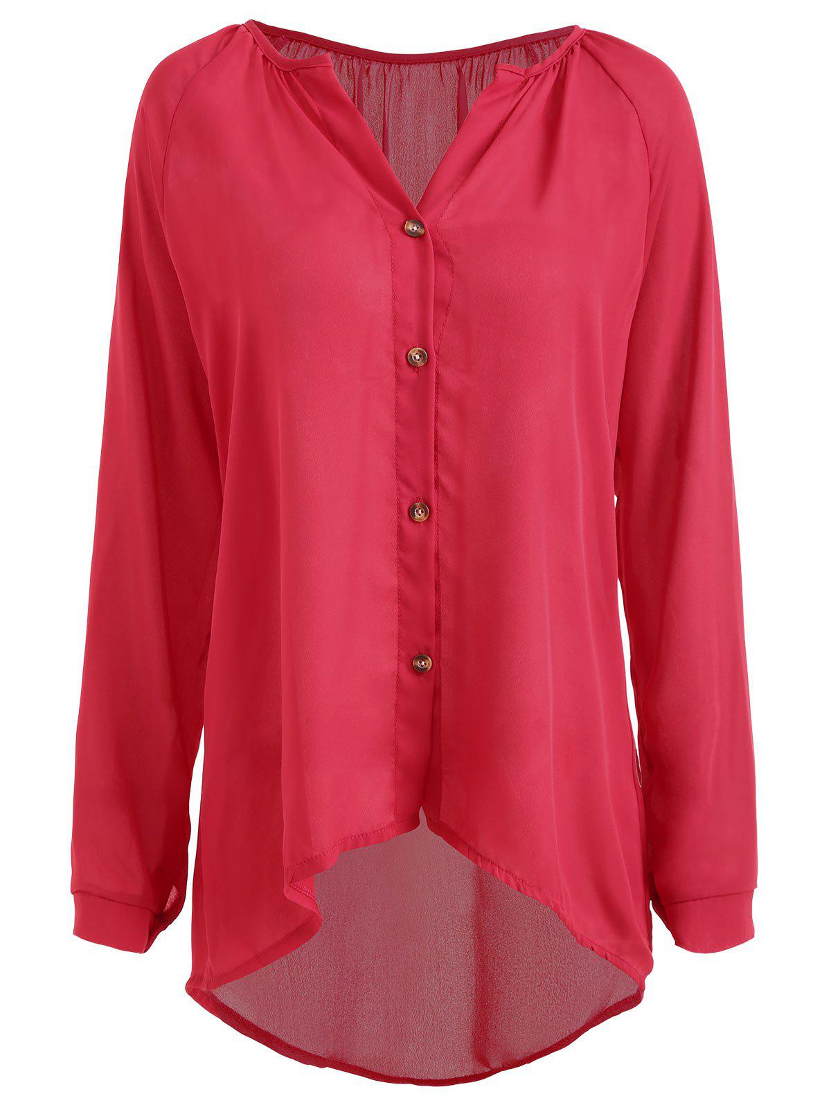 Buy Plus Size Button High Low Chiffon Blouse
