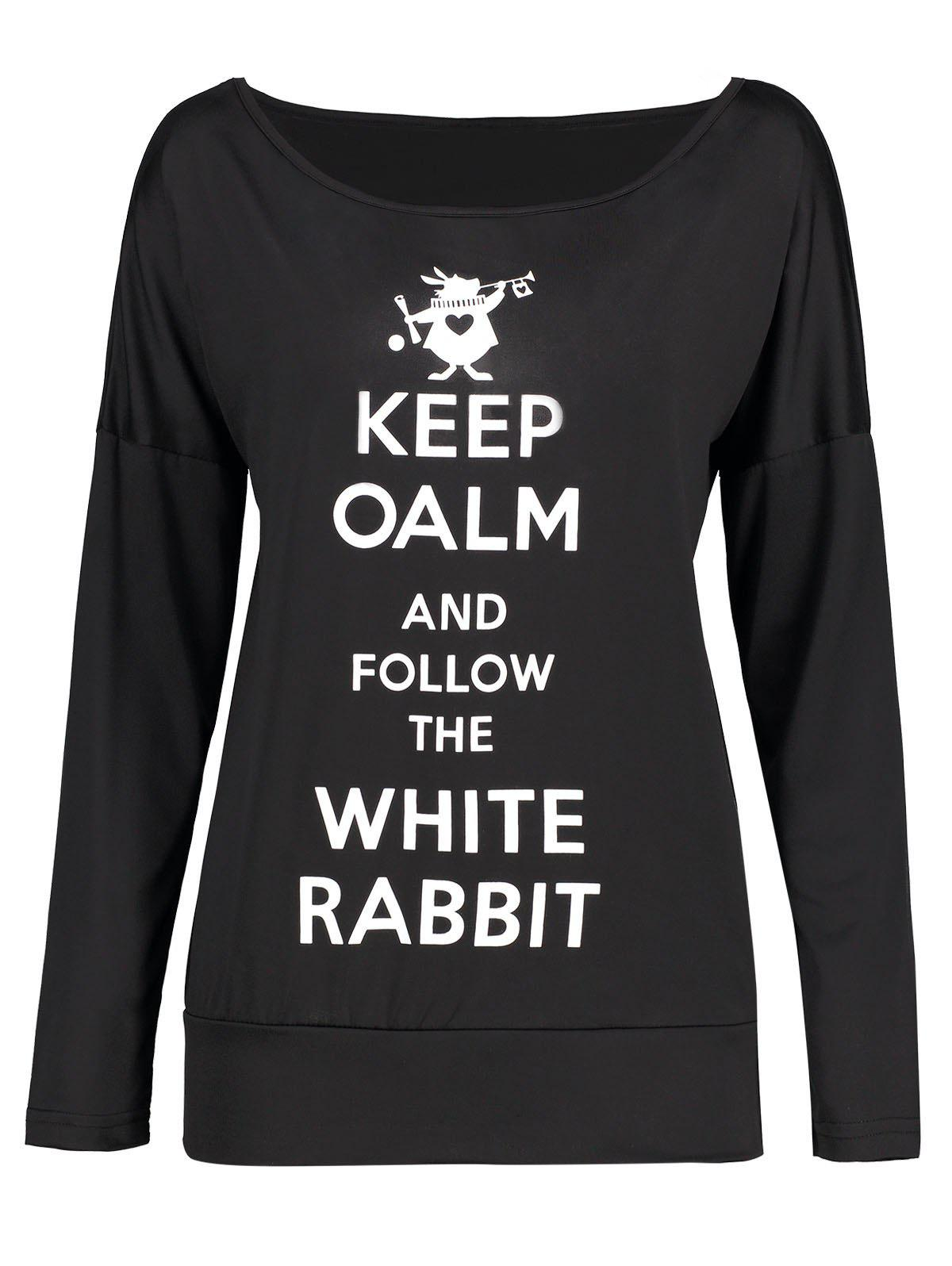 Keep Oalm Print Drop Shoulder Long Sleeve T-shirtWOMEN<br><br>Size: S; Color: BLACK; Material: Polyester; Shirt Length: Regular; Sleeve Length: Full; Collar: Round Neck; Style: Casual; Pattern Type: Letter,Print; Season: Fall,Spring,Winter; Weight: 0.2200kg; Package Contents: 1 x T-shirt;