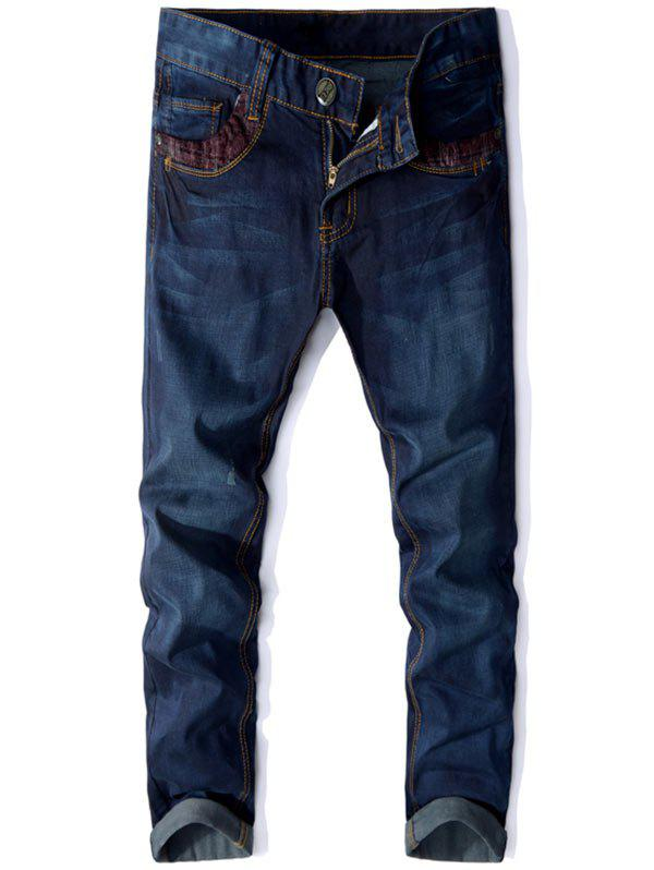 Unique Panel Design Zip Fly Straight Jeans