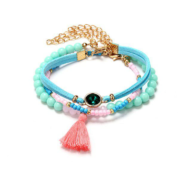 Faux Emerald Tassel Beaded Charm Bracelet SetJEWELRY<br><br>Color: COLORMIX; Item Type: Charm Bracelet; Gender: For Women; Chain Type: Beads Bracelet; Style: Trendy; Shape/Pattern: Tassel; Length: 21CM; Weight: 0.0140kg; Package Contents: 1 x Bracelet;