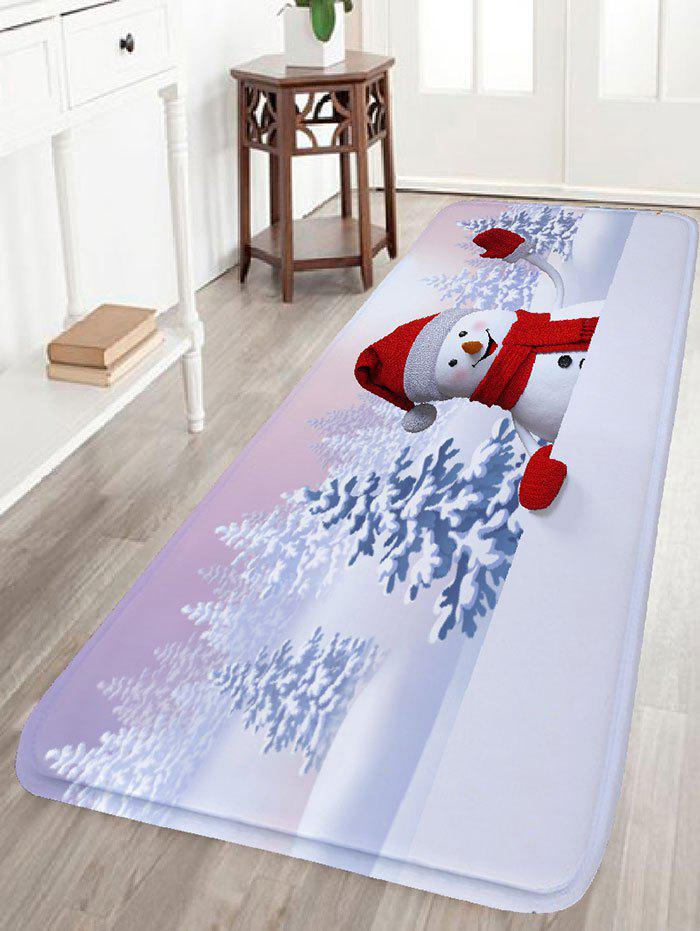 Christmas Snowscape Snowman Print Flannel Antiskid Bath MatHOME<br><br>Size: W24 INCH * L71 INCH; Color: WHITE; Products Type: Bath rugs; Materials: Flannel; Pattern: Plant,Snow,Snowman; Style: Festival; Shape: Rectangular; Package Contents: 1 x Rug;