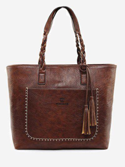 Braid Whipstitch Tassels Tote BagSHOES &amp; BAGS<br><br>Color: DEEP BROWN; Handbag Type: Totes; Style: Fashion; Gender: For Women; Embellishment: Tassel; Pattern Type: Letter; Handbag Size: Medium(30-50cm); Closure Type: Zipper; Interior: Cell Phone Pocket,Interior Zipper Pocket; Occasion: Versatile; Main Material: PU; Weight: 1.2000kg; Package Contents: 1 x Tote Bag;