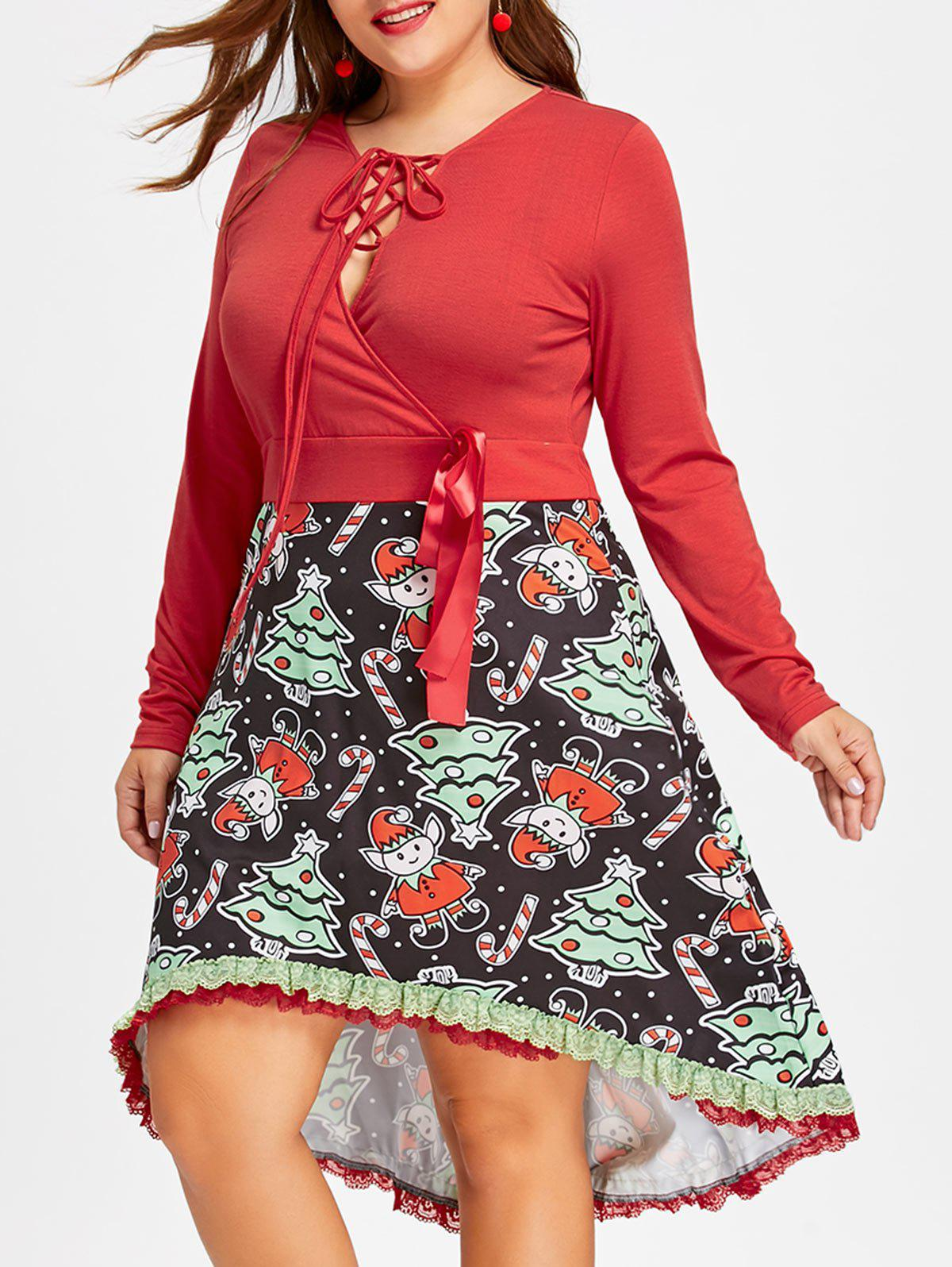 Christmas Plus Size High Low DressWOMEN<br><br>Size: 3XL; Color: RED; Style: Vintage; Material: Rayon,Spandex; Silhouette: A-Line; Dresses Length: Knee-Length; Neckline: Plunging Neck; Sleeve Length: Long Sleeves; Embellishment: Lace; Pattern Type: Character; With Belt: No; Season: Fall,Spring; Weight: 0.4700kg; Package Contents: 1 x Dress;