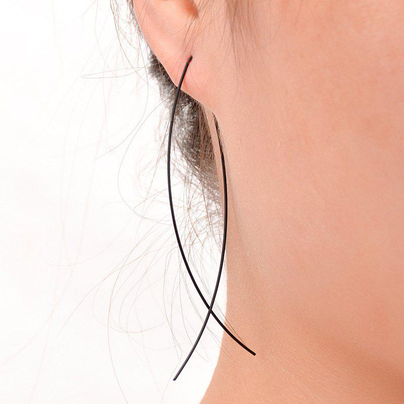 Alloy Simple Fish Hoop EarringsJEWELRY<br><br>Color: BLACK; Earring Type: Hoop Earrings; Gender: For Women; Metal Type: Alloy; Style: Trendy; Shape/Pattern: Animal; Length: 7.5CM; Weight: 0.0300kg; Package Contents: 1 x Earring (Pair);